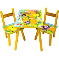 Lauris Children Kids Toddler Wood Wooden Table 2 Chairs Set Boys Girls Animal Design