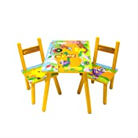 Lauris Children Kids Toddler Wood Wooden Table 2 Chairs Set Boys Girls Animal Design