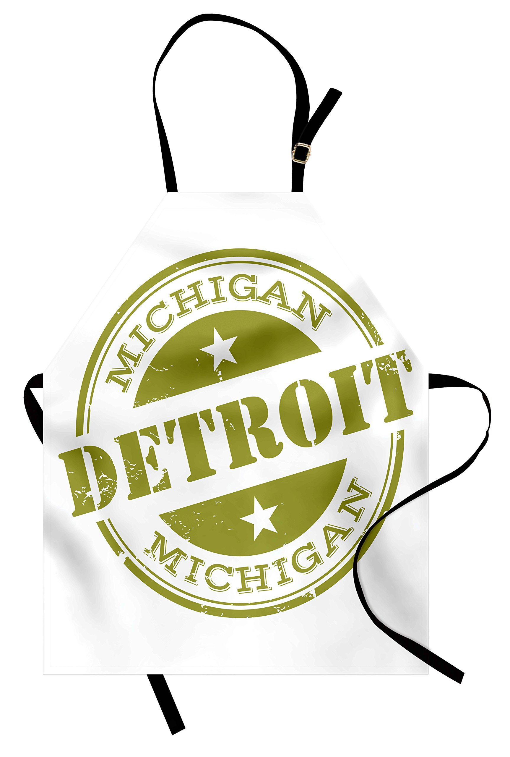 Ambesonne Detroit Apron, Aged Grunge Detroit Michigan Stamp Retro Design with Stars Tourism Travel, Unisex Kitchen Bib Apron with Adjustable Neck for Cooking Baking Gardening, Olive Green White