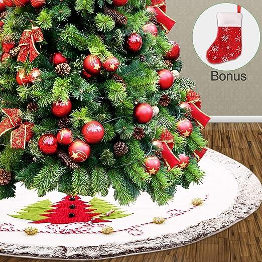 BS ONE Falda de árbol de Navidad, Falda de Felpa Blanca para árbol ...