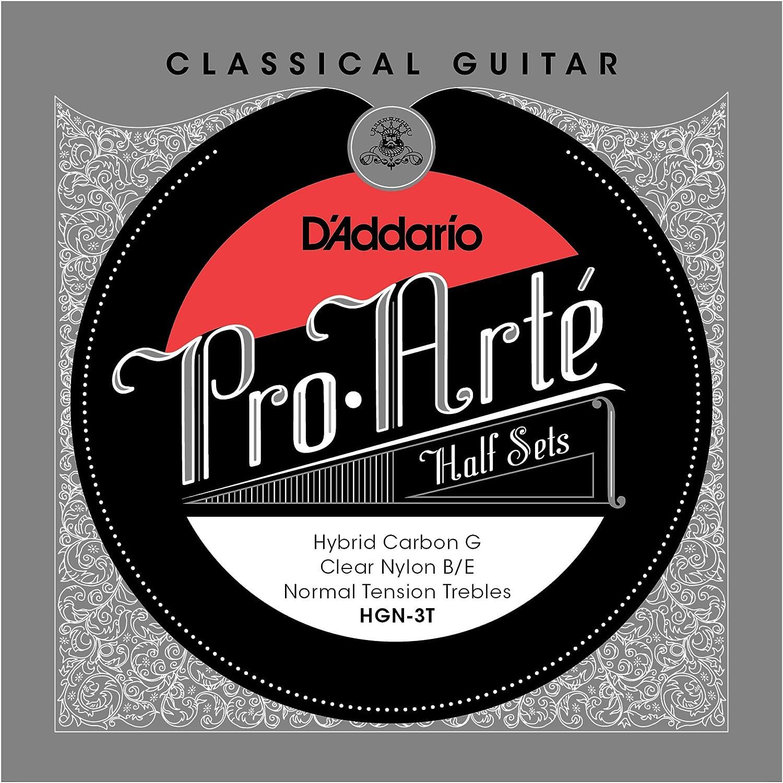 D'Addario HGN-3T Pro-Arté Hybrid. Medio juego para guitarra clásica con G de carbono, tensión normal