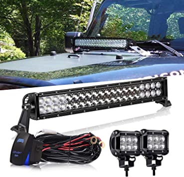Ausi 22 Inch 120w 10 30v Led Light Bar Waterproof Off Road Led Light Flood Spot Combo Beam For Suv Ute Atv Truck With Free 2pcs 18w Led Work Lights And Wiring Harness