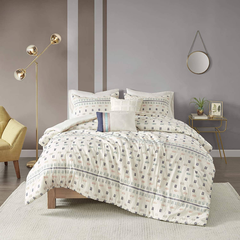 "Urban Habitat Comforter Modern Contemporary Textured Design All Season Bedding Set, Matching Shams, Decorative Pillows, Full/Queen(88""x92""), Auden, 100% Cotton, Tufts Aqua"