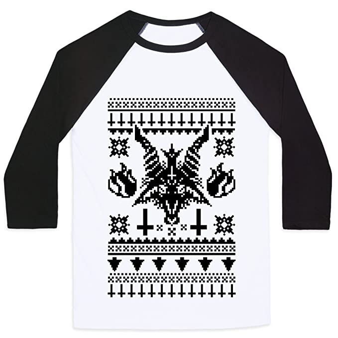 baphomet ugly christmas sweater whiteblack large mensunisex baseball tee by lookhuman