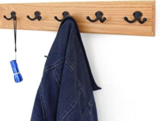 product image for Solid Oak Wall Mounted Coat Rack Aged Bronze Double Style Hooks Ultra Wide Rail Natural 4.5 X 25.5 Inches with 5 Hooks
