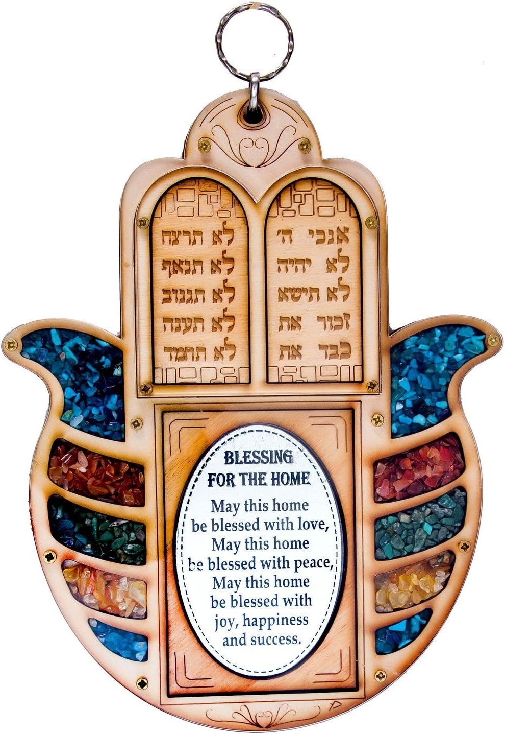 Anandashop-UK- The Ten Commandments Decalogue Wood Wall Hanging Judaica Hamsa Home Blessing With Semi Precious Stones