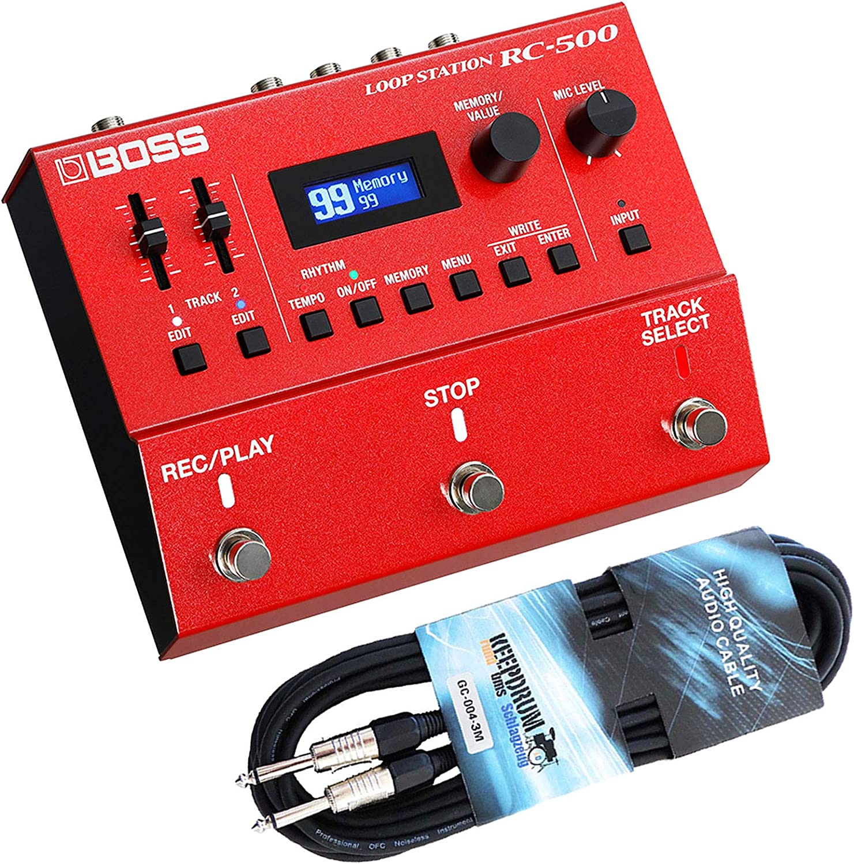 Boss RC-500 Loop Station Looper Pedal + cable de guitarra keepdrum 3 m