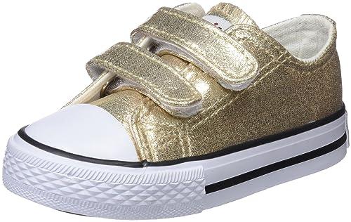 Conguitos Sneaker Metalizado Velcro, Zapatillas sin Cordones para Niñas, Dorado (Platino) 22 EU: Amazon.es: Zapatos y complementos
