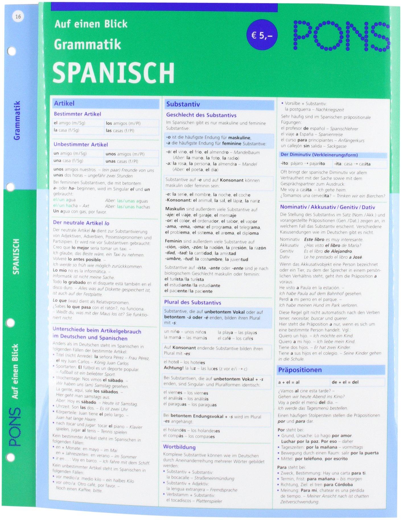 PONS Grammatik auf einen Blick Spanisch: kompakte Übersicht ...