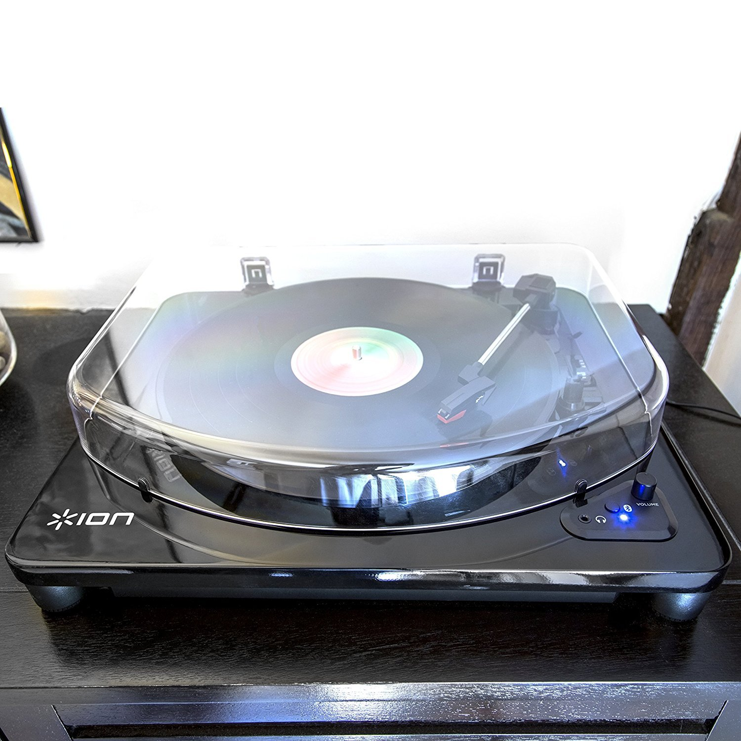 ION Audio Air LP - Bluetooth Enabled Three-Speed Vinyl Turntable with USB Conversion - Luxurious Piano Black Finish