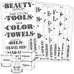 Bathroom Beauty Preprinted Labels, Organization Set. 72 Clear PVC Stickers by Talented Kitchen. 72 Water Resistant Label Set to Organize Bathroom Vanity, Cabinet & Closet (Set of 72 - Bathroom Titles)