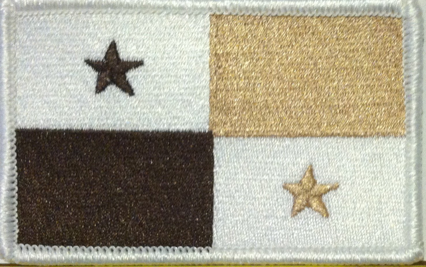 PANAMA FLAG Embroidered Iron-On PATCH Tactical White /& Tan Color Version