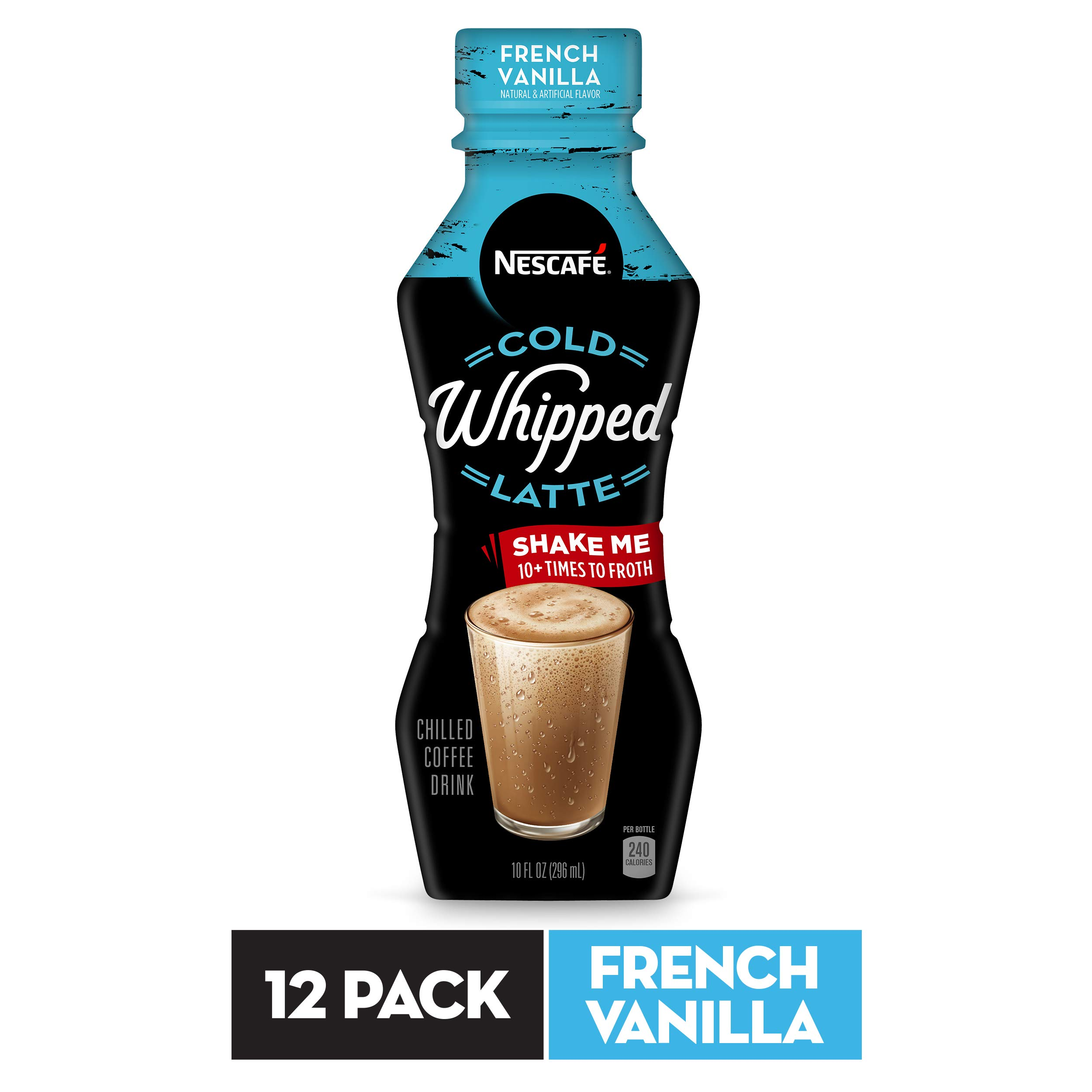 NESCAFÉ Cold Whipped Latte, Ready to Drink Chilled Coffee Drink, French Vanilla, 10 FL OZ, 12 Bottles | Premium Roasted Coffee Drink with Latte Froth