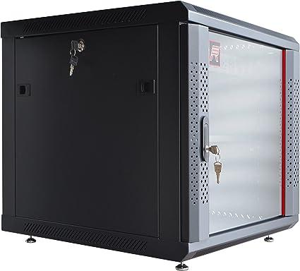 12U Wall Mount Network Server Data Cabinet 24-inch Depth Glass Door Lock /& Key
