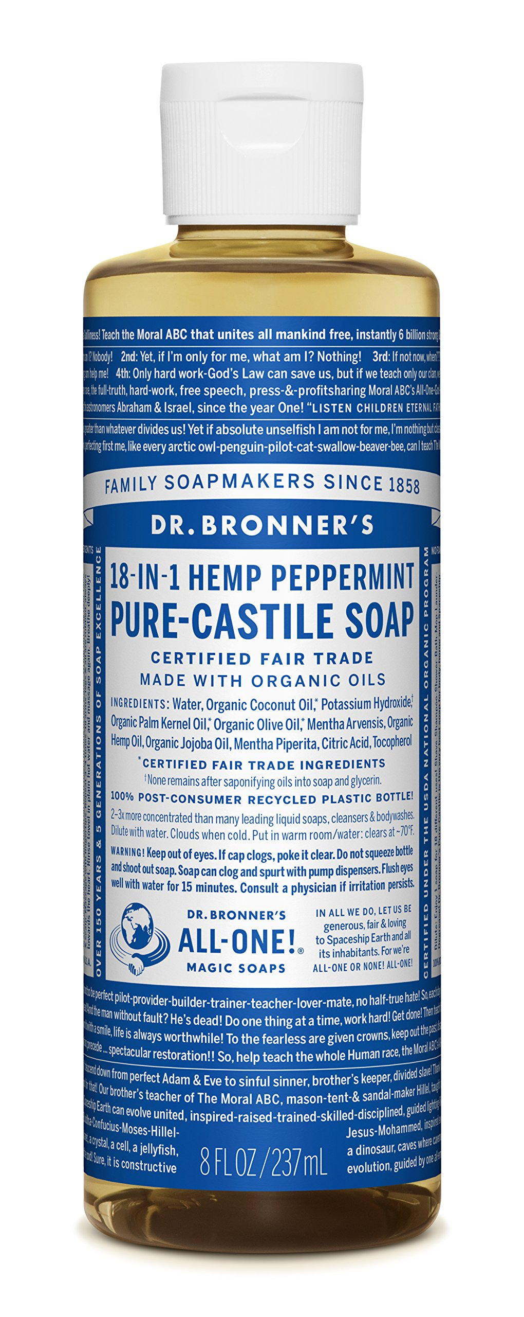Dr. Bronner's Pure-Castile Liquid Soap - Peppermint, 8 Oz