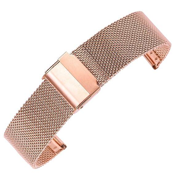 1138a4da4857ee 14mm Decent Mesh Milanese Watch Strap Rose Gold Chain Watch Belt Wristband  for Women 304 Stainless