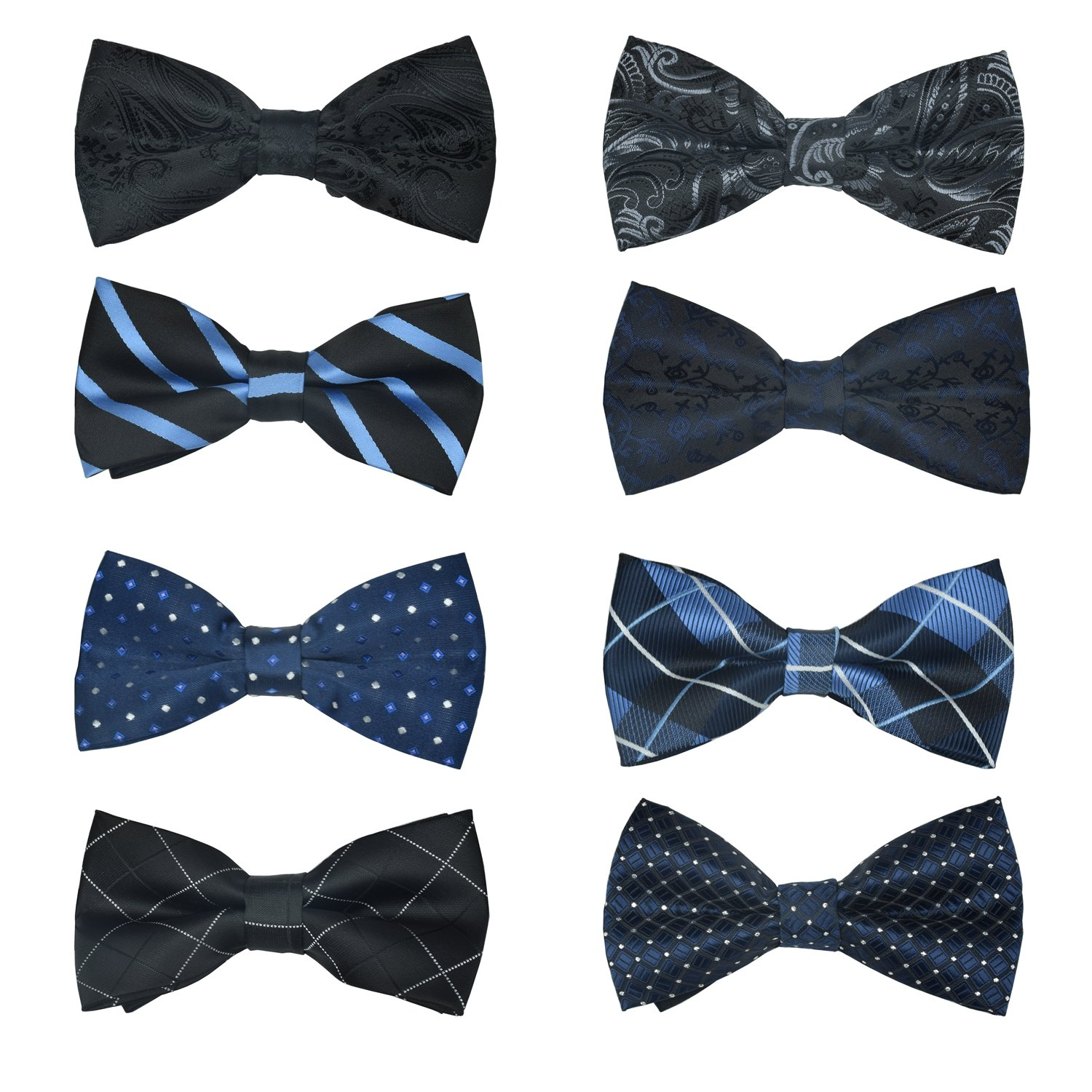 8 PACKS Elegant Men's Adjustable Pre-tied bow ties for Men Boys in Various Colors … (STYLE8)