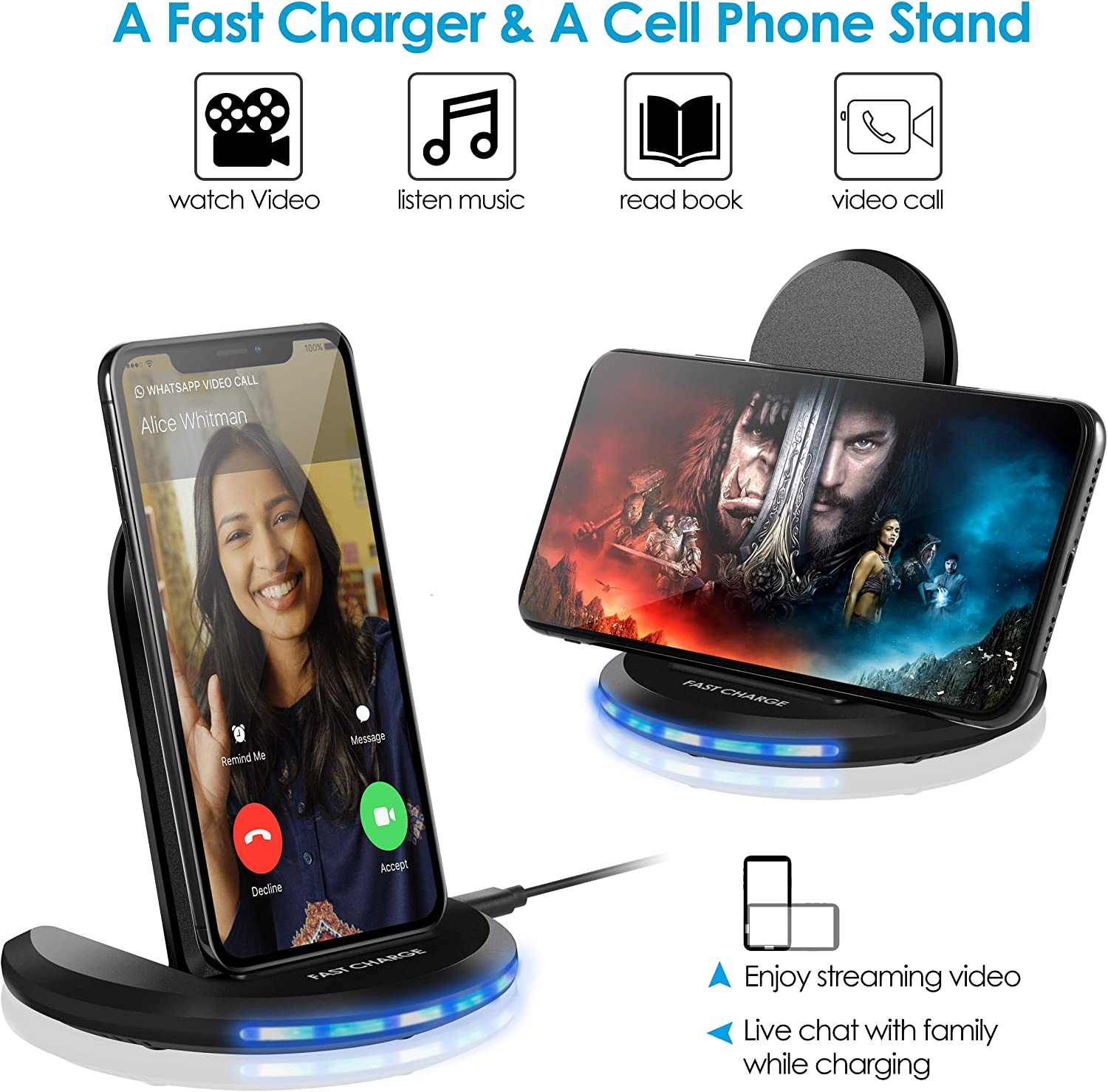 Qi-Certified 10W Max Fast Wireless Charging Pad Stand Galaxy Note 10//Note 10+//S10//S10+//S10E Torteco Wireless Charger Compatible with iPhone 11//11 Pro Max//XS Max//XR//XS//X//8//8+