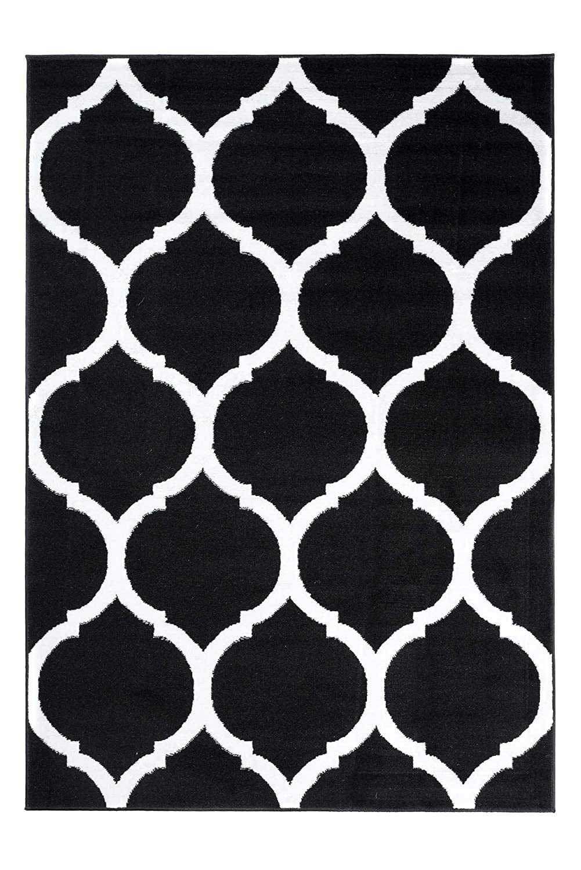 Tapiso Colecci/ón Luxury Alfombra Sal/ón Moderno Piso Color Gris Blanco Dise/ño Geom/étrico F/ácil Mantenimiento 80 x 150 cm