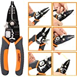 HORUSDY 6-in-1 Wire Stripping Crimper Tool, 8-Inch Wire Strippers Electrical for Wire Loop in Wire/Stripping/Crimping/Cutting/Iron Wire Cutting and Double Strand Wire Cutting