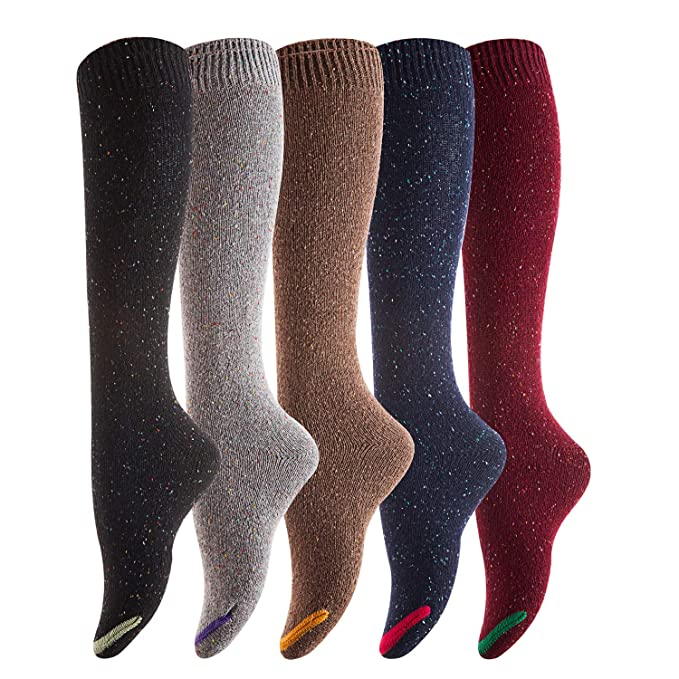 a62600fa96b Lovely Annie Women s 4 Pairs Pack Knee High Cotton Boot Socks 6-9(4 ...