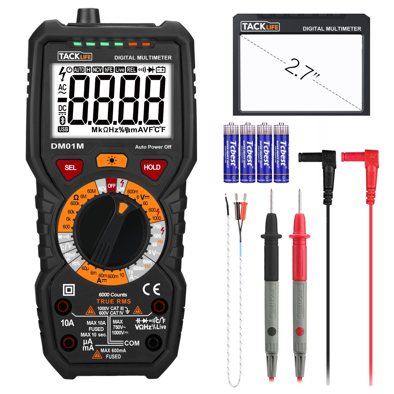 Tacklife DM01M Digital Multimeter TRMS 6000 Counts Manual Ranging, Volt Amp Ohm Multi Meter, Continuity Frequency Capacitance Diode Temperature Tester with NCV, LCD Backlit and Flashlight by TACKLIFE