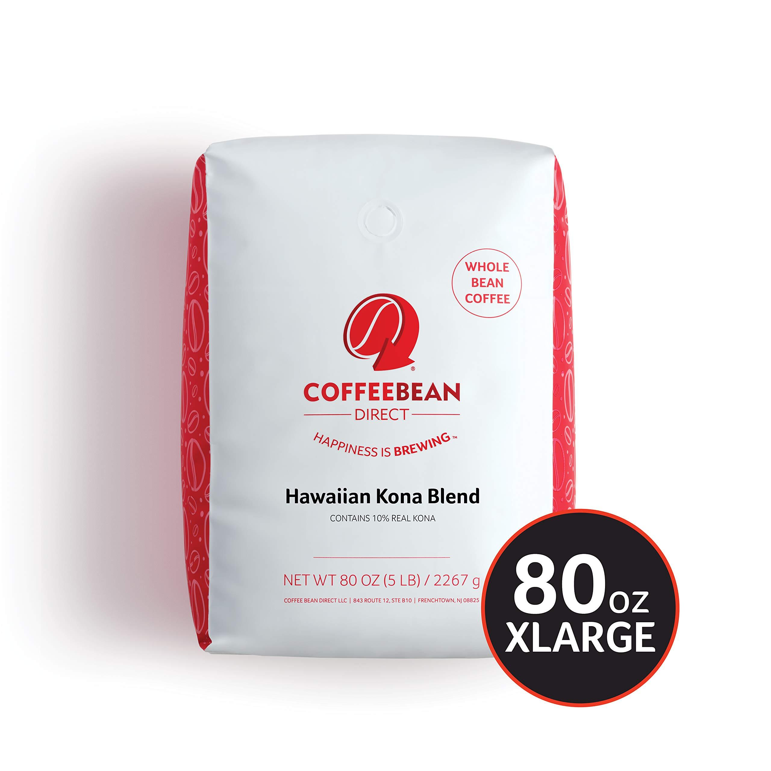 Coffee Bean Direct Hawaiian Kona Blend Coffee, Light Roast, Whole Bean, 5 Pound by Coffee Bean Direct