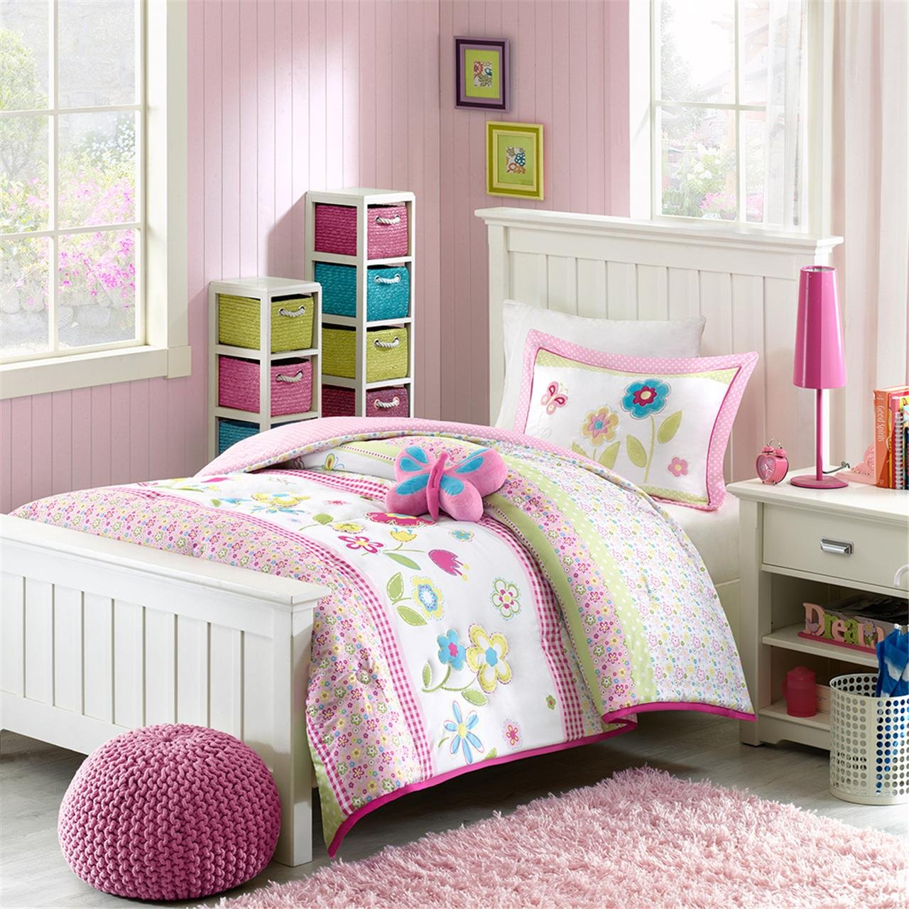 Amazon.com: Mizone Kids Spring Bloom 3 Piece Comforter Set, Multicolor,  Twin: Home U0026 Kitchen