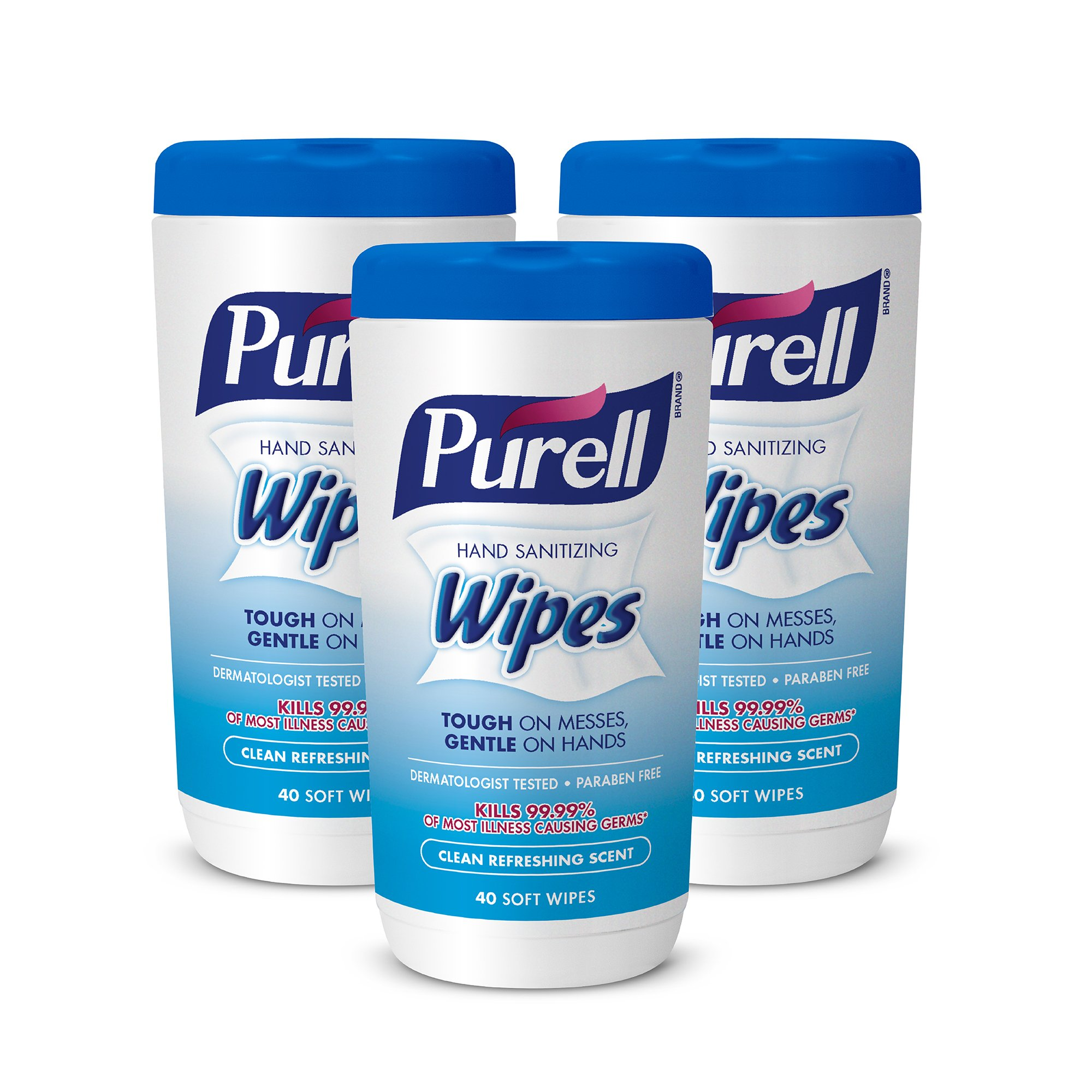 PURELL Hand Sanitizing Wipes - Clean Refreshing Scent, Non-Alcohol Wipes, 40 Count Canister (Case of 3) - 9120-03-EC
