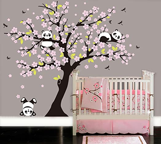 BDECOLL Cherry Blossom Wall Decal Playful Pandas In Cherry Blossom Tree |  Panda Bear Nursery And Part 42
