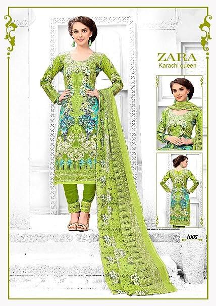 28bc74ba Zara Karachi queen premium cotton dress material: Amazon.in: Clothing &  Accessories