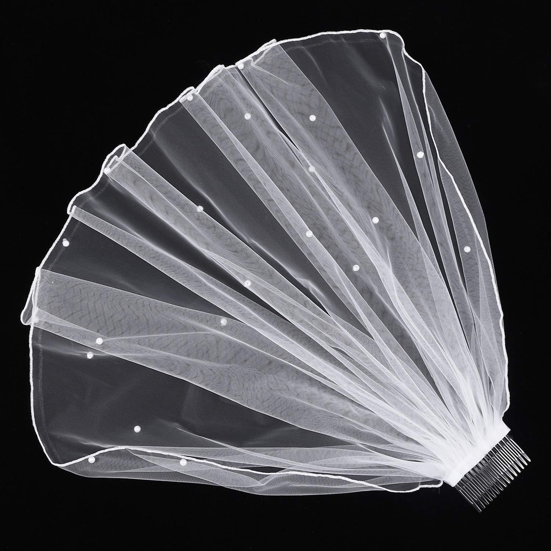 1pc Wedding Veil Chapel Cathedral White Elegant Short Pearl Veil Lace Bridal Veils Wedding Veil with Hair Comb