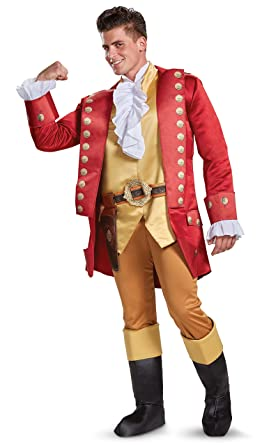 Captivating Disney Menu0027s Plus Size Gaston Deluxe Adult Costume Red XXL 50 52 By Disguise