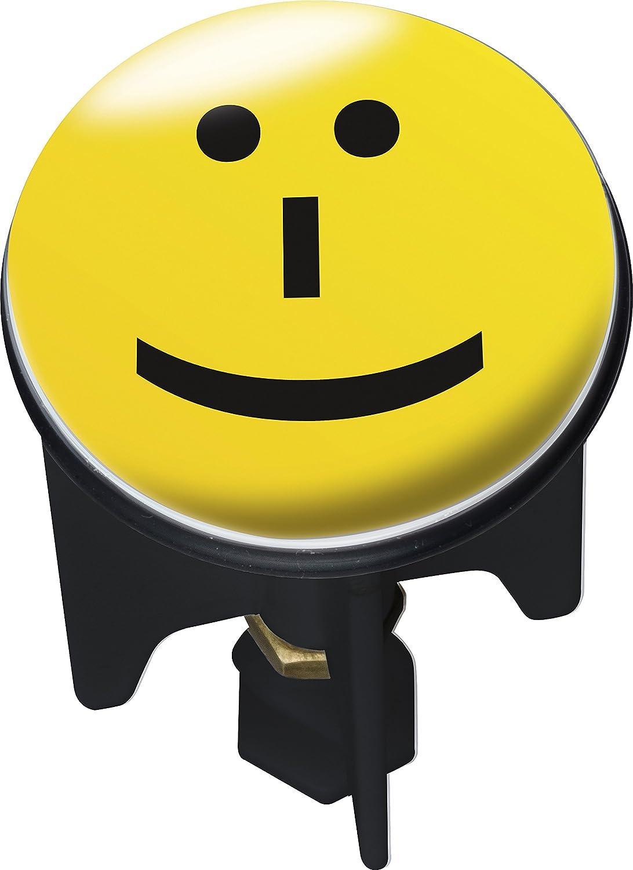 Wenko, Tappo per lavandino 20749100 Pluggy Lacher Abfluss Stopfen Messing Kunststoff Durchmesser 39 x 65-95 cm gelb schwarz, (Mehrfarbig)
