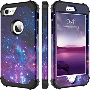 """iPhone 8 Case, iPhone 7 Case, BENTOBEN Heavy Duty Shockproof 3 in 1 Slim Hybrid Hard PC Soft Silicone Bumper Space Galaxy Design Protective Phone Case Cover for iPhone 8 /iPhone 7 (4.7"""") Nebula Purple"""
