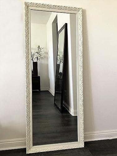 West Frames Bella Ornate Embossed Wood Framed Leaner Floor Mirror Antique White