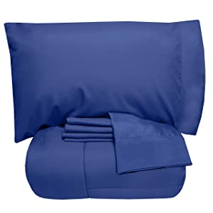 Sweet Home Collection 5 Piece Comforter Set Bag Solid Color All Season Soft Down Alternative Blanket & Luxurious Microfiber Bed Sheets, Twin, Royal Blue
