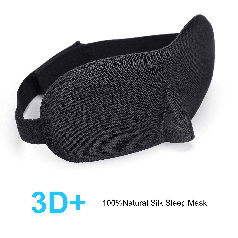 Sleep Mask (3D New Design) Eye Mask for Sleeping, Contoured Comfortable Lightweight Soft Blindfold with Adjustable Strap for Sleeping, Travel (black)