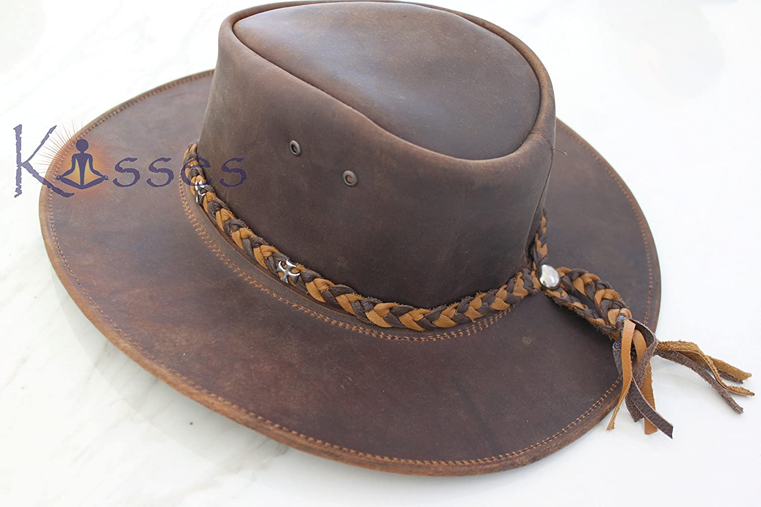 Amazon.com  Outback Aussie Style Western Leather Cowboy Hat  Clothing 3630ef3d06b