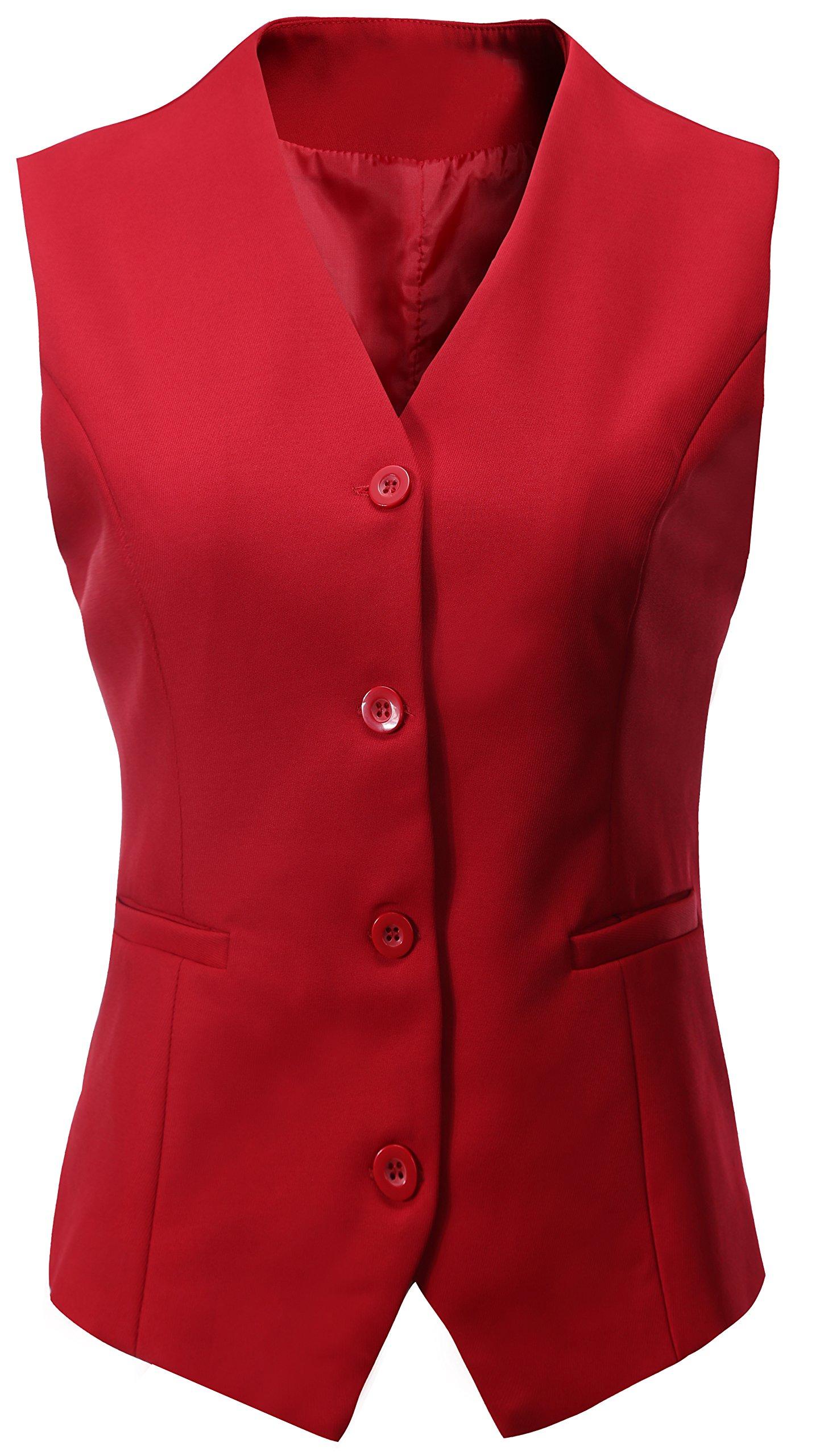 Vocni Women's Fully Lined 4 Button V-Neck Economy Dressy Suit Vest Waistcoat,Red,US S/Asia XL