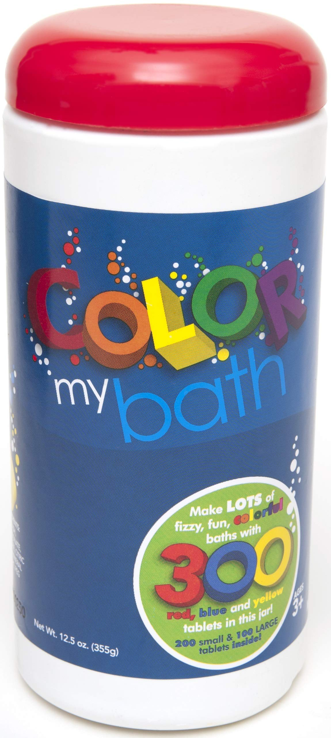 Color My Bath 133- 300 Tablet Jar - Fizzing Tub Water Primary Color Changing Tabs, Fun and Educational Bathtime Activity For Kids, Safe For Baby Non Toxic, Non Staining, Soap and Frangrance-Free Formula