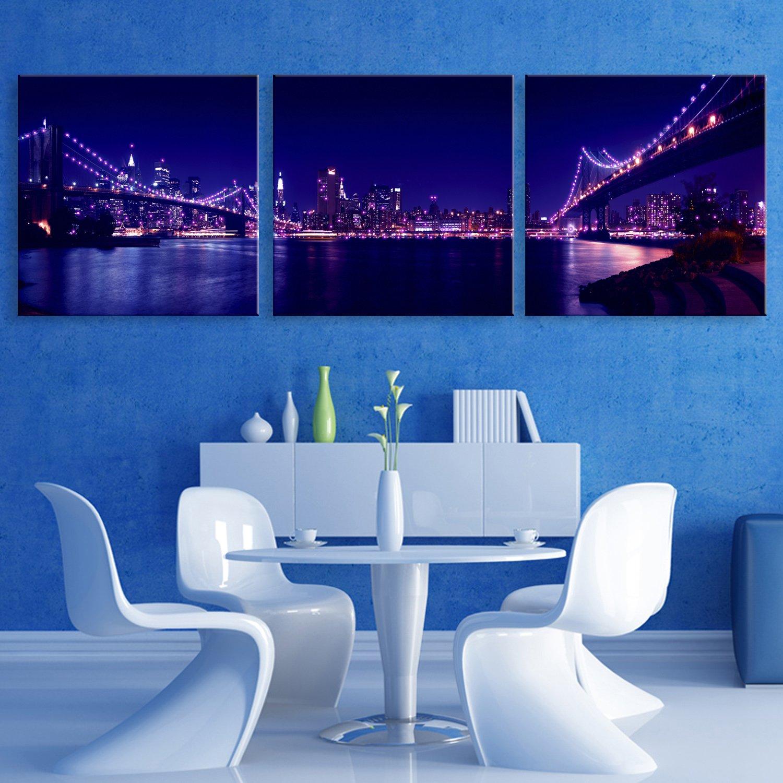 E-HOME 輝く装飾画 都市の夜景 る インテリア LED飾り絵 ledキャンバスプリントを LED光ファイバ飾り絵 (30x30cm*3pcs) B075WRWG65 30x30cm*3pcs 30x30cm*3pcs