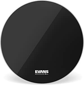 Evans EQ3 Resonant Black Bass Drum Head, No Port, 26 Inch
