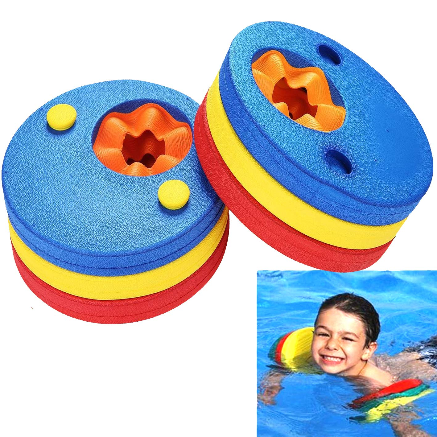 VERISA Float Aid Discs EVA Foam Swim Arm Band 6 pc Set for Kids Boys Girls Toddlers, Learn to Swim, Age 2 – 6, 25 kg max