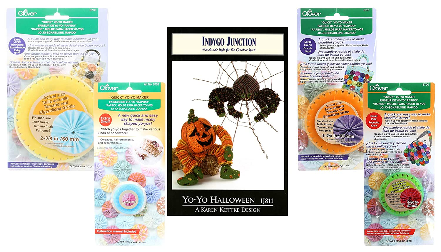 Amazon.com: Yo-Yo Halloween Kit Bundle Including Pattern by Indygo Junction and Extra Large, Large, Small, and Extra Small, Clover Yo-Yo Makers