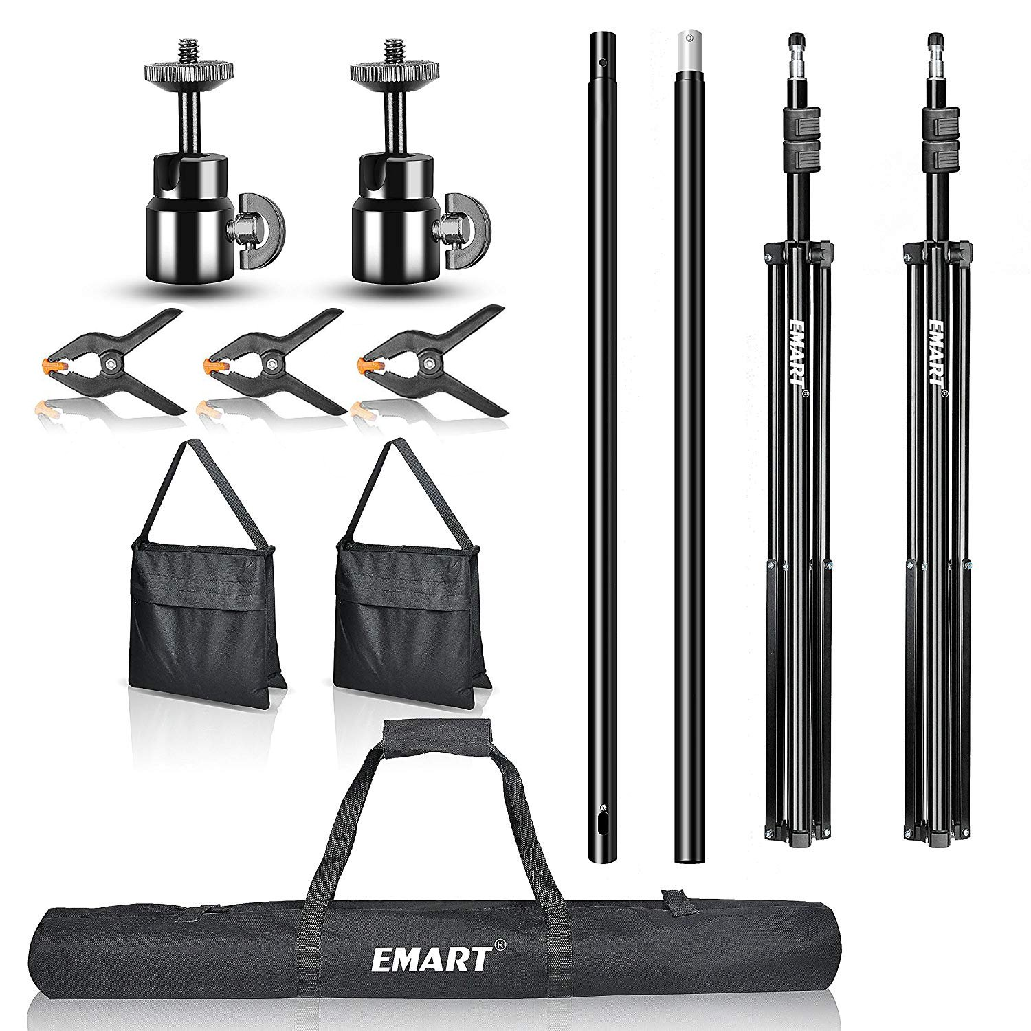 Backdrop Stand, Emart 7x10ft Photo Video Studio Muslin Background Stand Backdrop Support System Kit with Mini Ball Head, Photography Studio by EMART (Image #7)