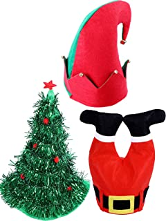 8c7fb40e08796 Jovitec 3 Pieces Christmas Hat Novelty Decoration Hats Include Santa Pants  Hat Elf Hat Christmas Tree
