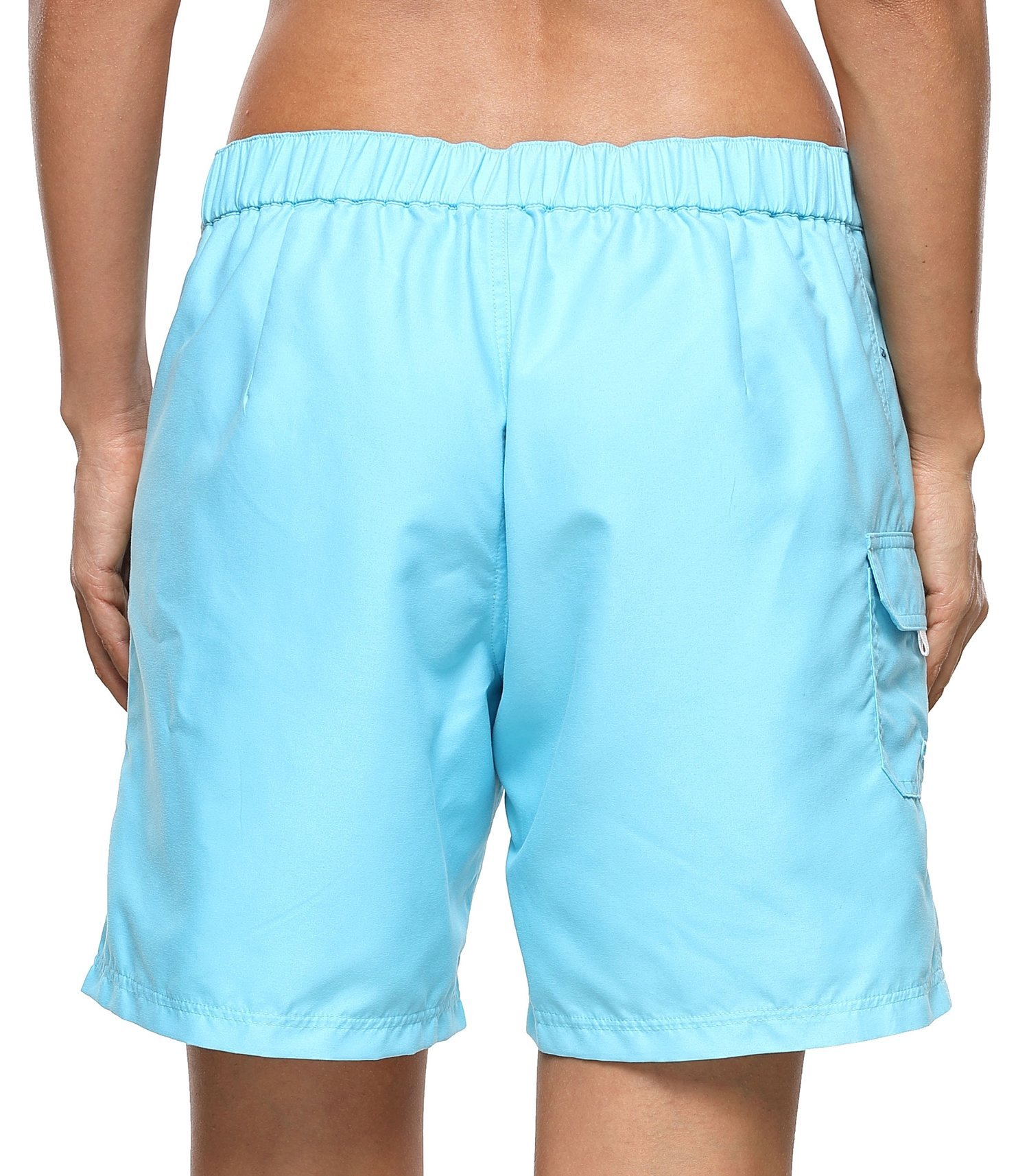 ATTRACO Women's Long Board Short Side Pocket Drawstring Swimwear Shorts Blue Large by ATTRACO (Image #2)