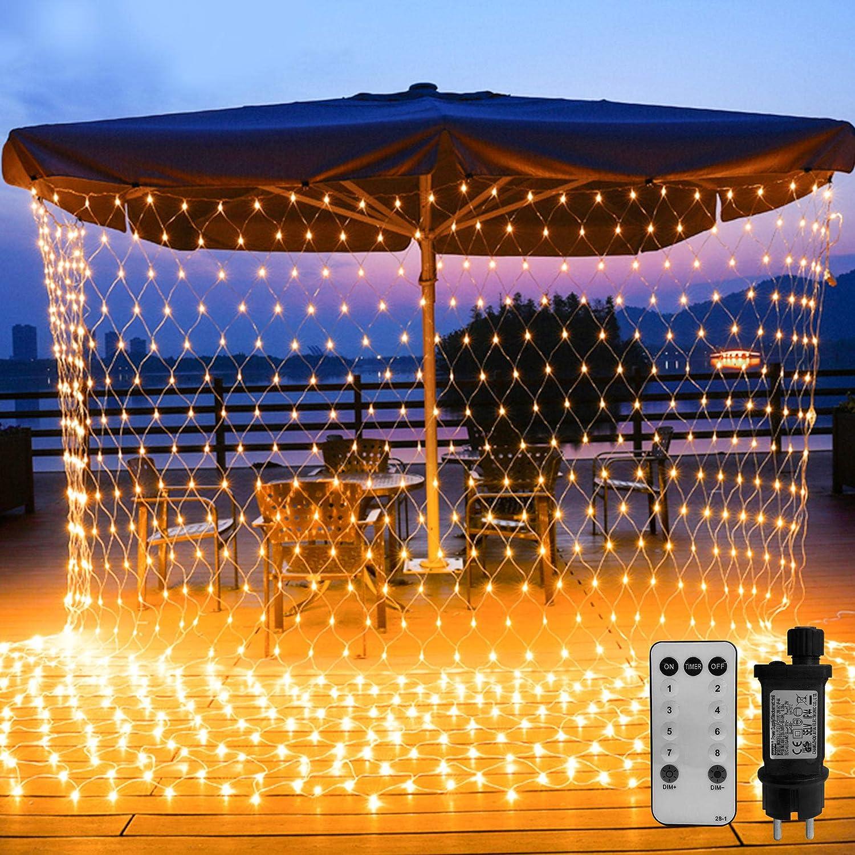 WOWDSGN 200LED Guirnaldas Neta Luz 3M X 2M Blanco c/álido 8 Modes Impermeable de luz de Red con Energ/ía Iluminaci/ón para Navidad Decoraci/ón Interior Exterior