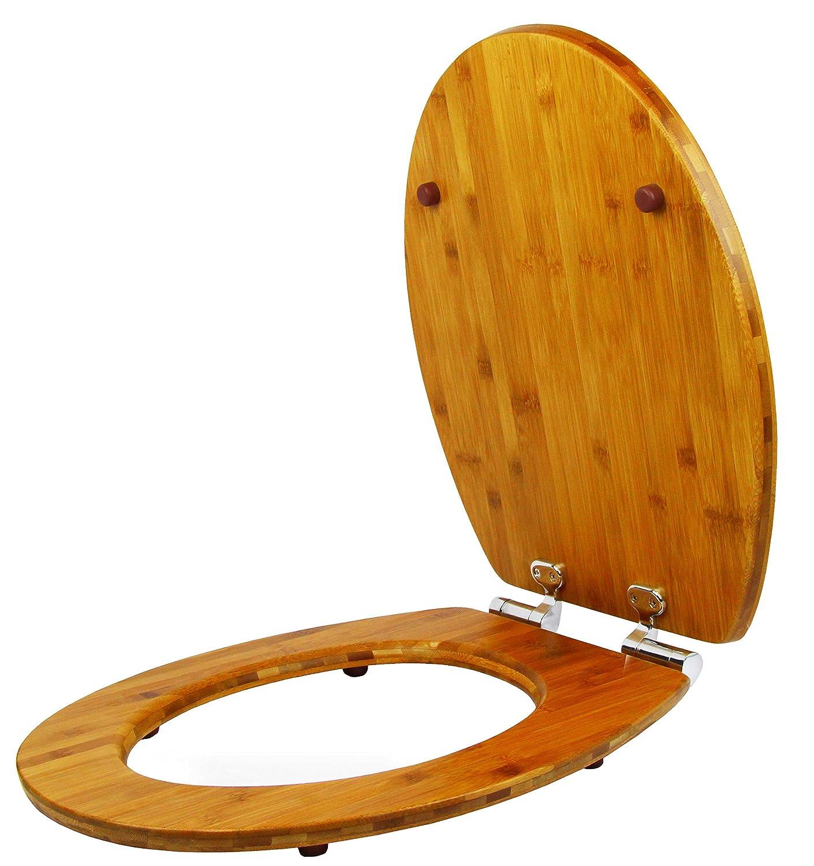 Abattant WC en bambou Topseat Reverse Edge avec fermeture douce et charni/ères facile le d/écollage